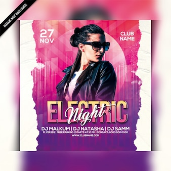 Electric night party flyer template
