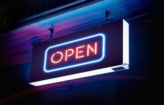 電気ネオン「オープン」看板