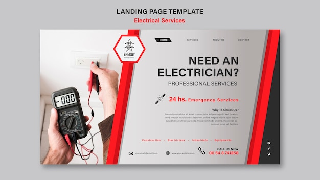 Electrical services landing page design