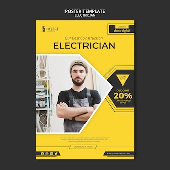 Electrician poster template design