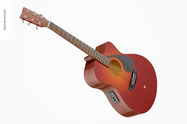 Electro acoustic guitar mockup, perspective
