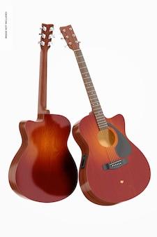 Electro acoustic guitars mockup, floating