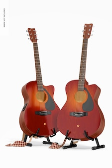 Electro acoustic guitars mockup