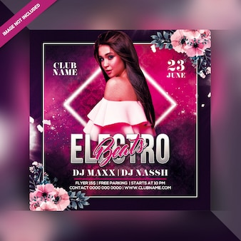 Electro beats party flyer or poster template