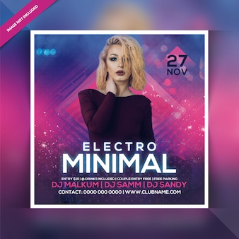 Electro minimal party flyer Premium Psd