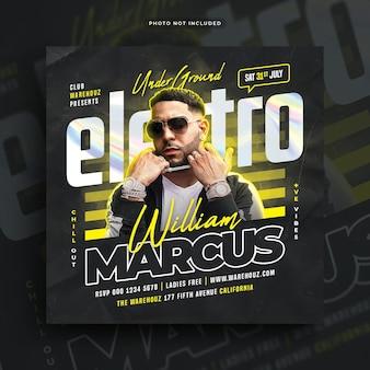 Электро музыкальный клуб dj вечеринка флаер публикация в социальных сетях веб-баннер Premium Psd