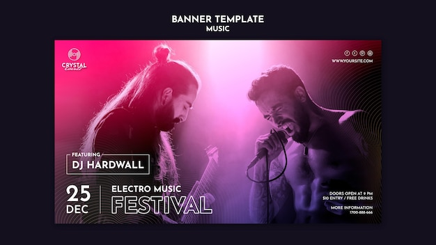 Electro music festival banner template