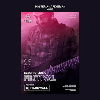 Electro music festival flyer template