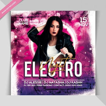 Electro night party banner template