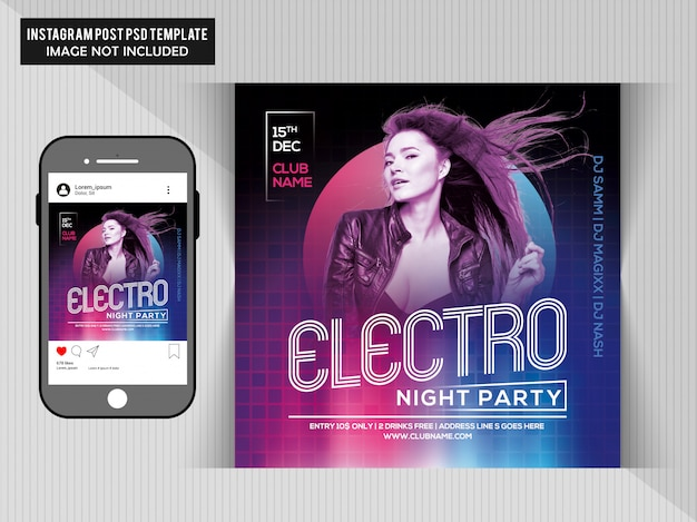 Electro night party cover in cd and phone