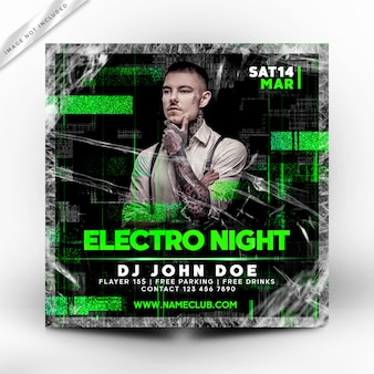 Electro night party flyer or poster template