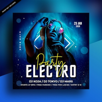 Electro night party flyer or social media post