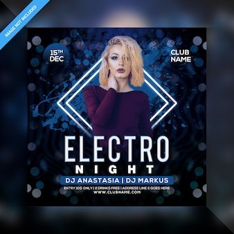 Electro night party flyer