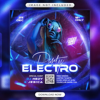 Electro party flyer or social media promotional banner template