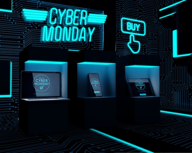 Electronic devices exposed for cyber monday sale