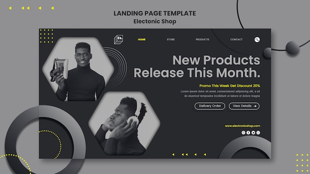 Electronic shop landing page template
