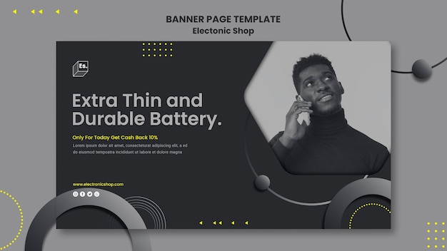 Electronic shop template banner