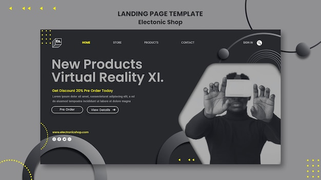 Electronic shop template landing page