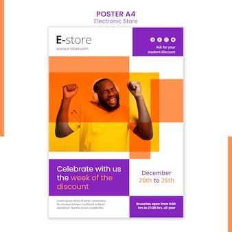 Modello di poster pubblicitario del negozio elettronico