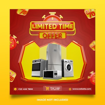 Electronics item limited time offer 3d render social media post template