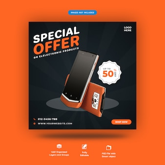 Electronics square banner or instagram post template premium psd