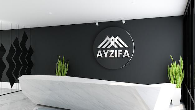 Элегантный 3d круговой макет логотипа в приемной офиса