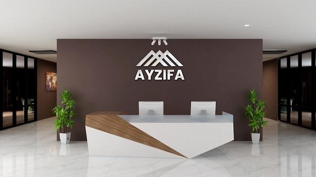Elegant 3d logo mockup on receptionist