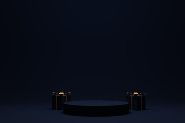 Элегантный 3d подиум для новогоднего фона