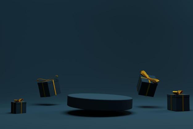 Элегантный подиум 3d рендера на рождество с подарочной коробкой