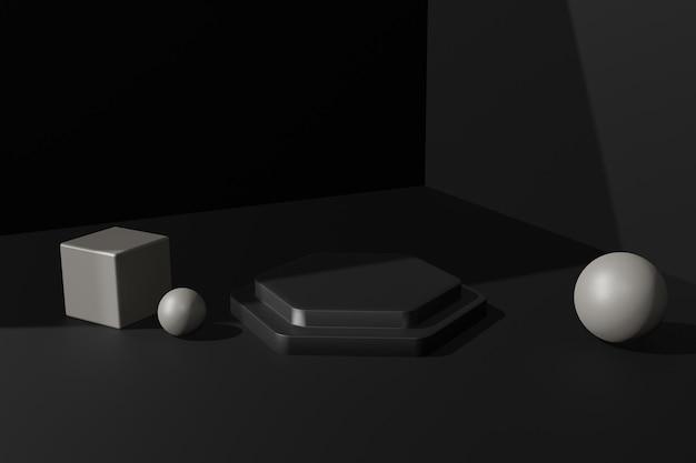 Elegant 3d rendering podium stage background for product presentation