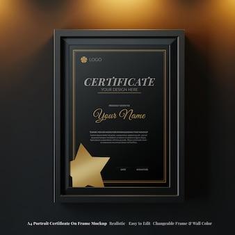 Элегантный вертикальный сертификат класса люкс формата а4 на раме реалистичный макет в причудливом темном интерьере