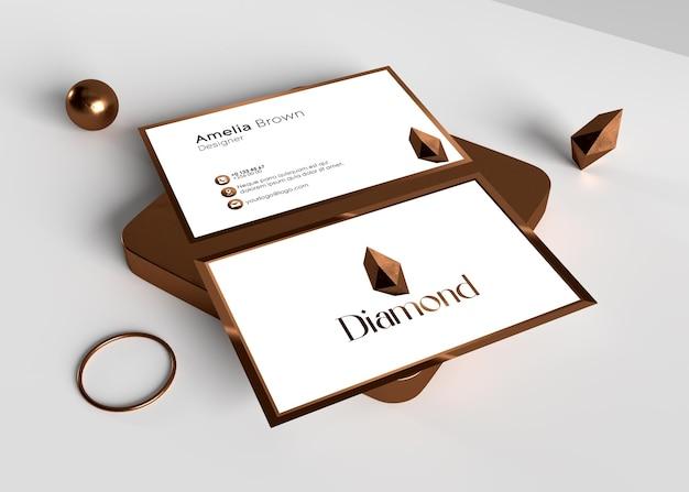 구리 다이아몬드 로고 효과가 있는 우아하고 현대적인 명함