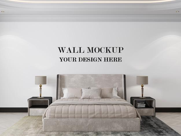 エレガントなアールデコスタイルの寝室の壁のモックアップ3dレンダリング
