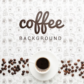 Elegant background with tasty coffee cup