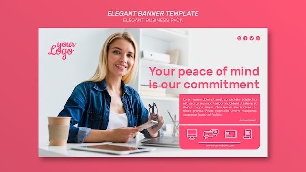 Elegant banner template with medium shot of woman