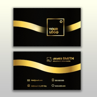 Elegant black and golden business card mockup