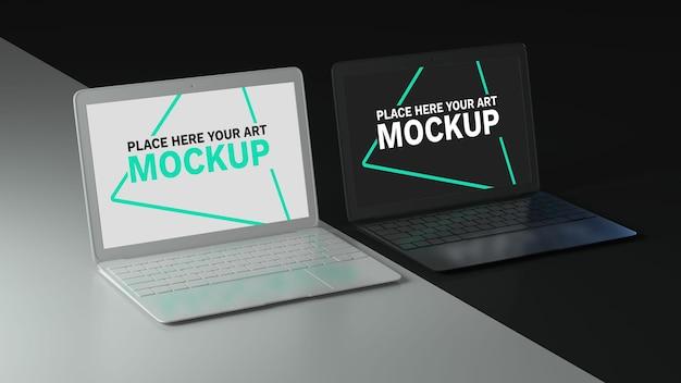 エレガントな黒と白のノートパソコンの画面のモックアップ