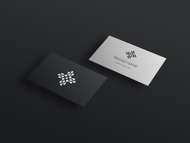 현대 로고가있는 우아한 검은 명함 모형