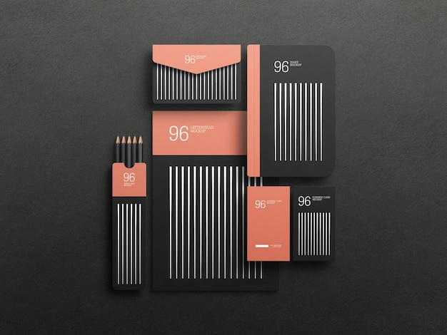 Elegant black stationary set mockup