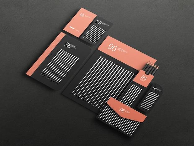 Elegant black stationary set mockup