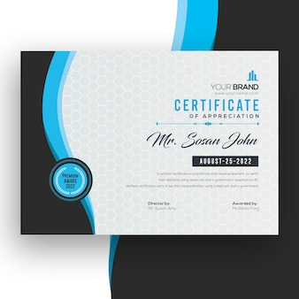 Elegant blue certificate psd template
