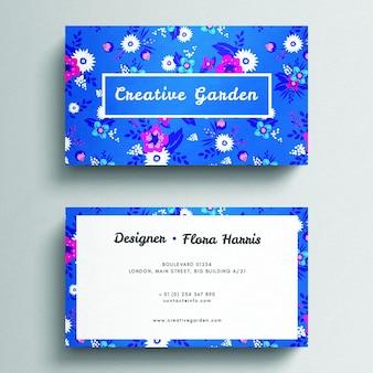 Elegant blue floral business card mockup