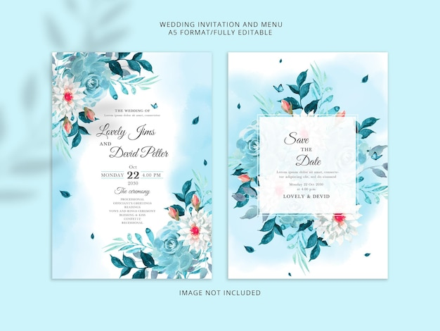 Elegant blue floral wedding invitation card premium psd