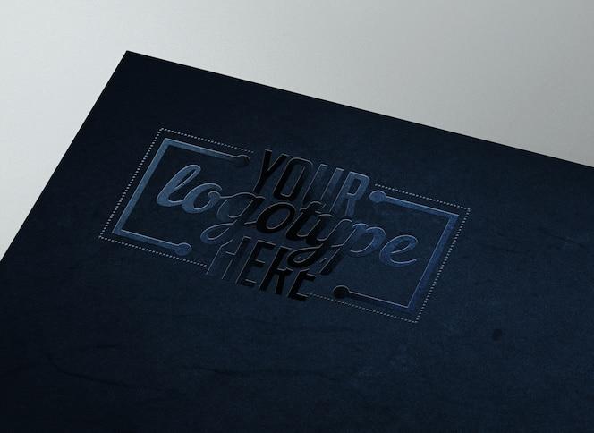 Elegant blue logotype template on texture