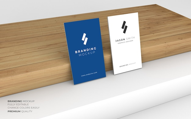 Elegant blue and white business card mockup
