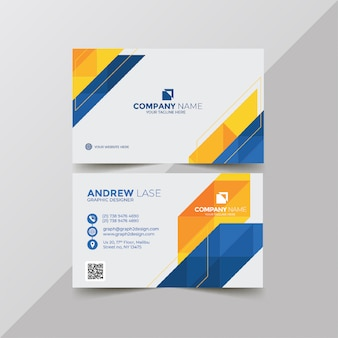 Elegant blue and yellow business card