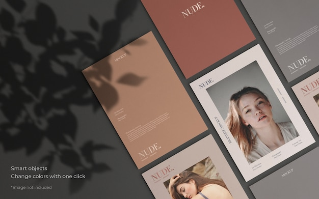 Elegant brochure collection mockup with botanical shadow