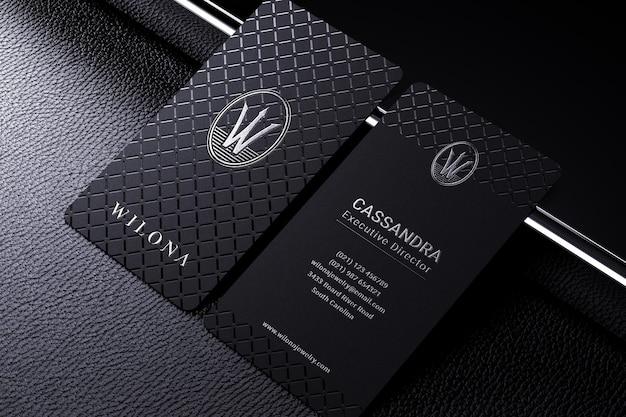 Elegant business card logo mockup with foil stamping effect