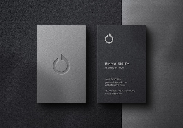 Elegant business card mockup on dark background with foil effects