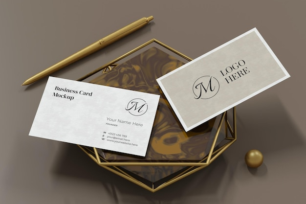 Elegant business card mockup design in 3d rendering